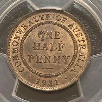 1911 Halfpenny Choice UNC PCGS MS64 RB