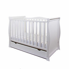 New Baby White Sleigh Mini Cot Bed With Drawer +Spring / Sprung Quality Mattress