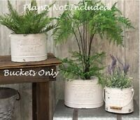SHABBY FARMHOUSE BUCKETS 3 pcs FARMERS MARKET PLANTER  Chippy White VINTAGE LOOK