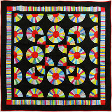 Amish styled Dancing Fans FINISHED QUILT - Patchwork Borders - Queen size