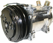 NEW SANDEN SD-508 A/C COMPRESSOR,POLISHED,VINTAGE AIR,2 GROOVE V-BELT,UNIVERSAL