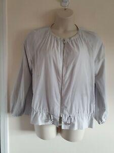 Ladies Light Grey Round Neck Long Sleeve Zip Fasten Jacket From Zara Size L