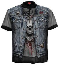 Spiral Trash Metal Top Shirt All Over Gothic Skelett Kutte Veste Biker #3221 039