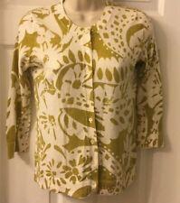 Pretty J.Crew Sz XS 100% Cotton Ivory & Green Floral Cardigan Sweater