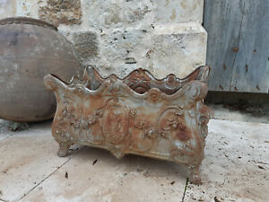 19th c CAST IRON GARDEN PLANTER OUTDOOR ROSES  FLOWERS  GARLAND RINCES IN RELIEF