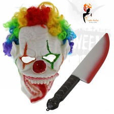 Scary Evil Clown Latex Mask With Rainbow Wig & Bloody Knife Halloween Costume