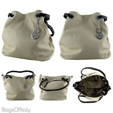 Daniela Moda in pelle italian leather Bucket Tote Handbag Crema e Marrone