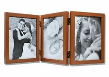 Wood Folding Vertical Photo Frames for 3 5x7 Photos w/ Real Glass, Coffee Walnut