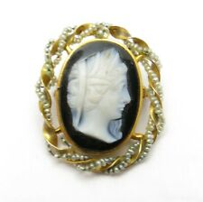 Cameo Seed Pearl Twisted Brooch Pendant Vintage 10K Yellow Gold Black & White
