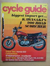 VINTAGE 1972 CYCLE GUIDE MAGAZINE KAWASAKI Z1 900 OWNER MANUAL KZ900 Z900 SHOP