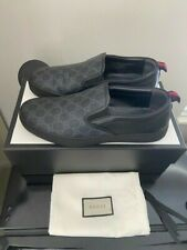 AUTHENTIC Gucci GG Supreme Men's Black Gray Slip On Sneakers Size 11G US 12