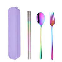 Stainless Steel Fork Spoon Chopsticks Set Dinnerware Tableware Cutlery With Box