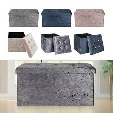 Top Folding Storage Ottoman Seat Toy Storage Box Folding Seat Crushed Velvet
