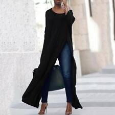 Women Ladies Off The Shoulder Casual High Split Crop Tops Long Maxi Shirt Blouse