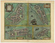 Antique Map of Bolsward, Stavoren, Harlingen and Hindeloopen by Braun & Hoge