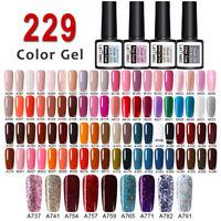 229 Colors LEMOOC Nail Gel Polish Soak off Pure Tips Glitter Sequins Gel 8ml