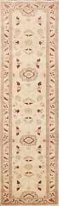 IVORY Floral Peshawar Oriental Runner Rug Hand-knotted Traditional 3'x10' Carpet