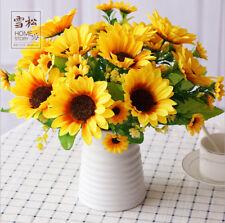 27cm 14Heads Artificial Head Fake Sunflower Silk Flower Bouquet Home Wedding Dec