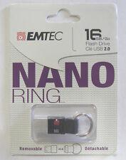 Brand New! EMTEC - 16GB USB 3.0 Flash Drive - Black - Nano Ring