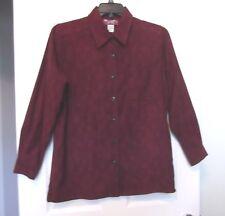 Denim & Co Sz S Burgundy Brown Animal Print Moleskin Shirt Jacket, long sleeves