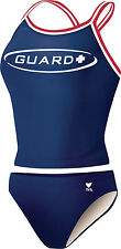 NEW TYR Womens GUARD Diamaxfit 2 PIECE Workout Navy Blue Tankini SWIMSUIT  Large