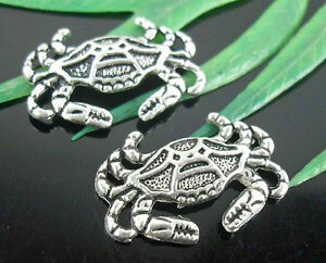 120Pcs Antique Silver Crab Charms Necklace accessories DIY 20x13mm (Lead-free)