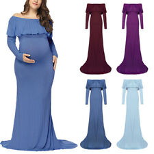 Pregnant Women Off Shoulder Maxi Dress Maternity Gown Photo Photography Props