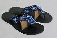 Women's African Hand Made Beaded Leather Sandals Flip Flops size 40 US 9, #176
