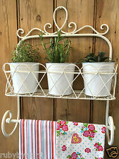 Shabby Chic Shelf Unit Rack Towel Rail Ivory French Vintage Bathroom Kitchen