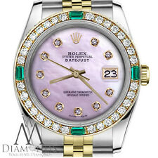 Ladies Rolex 36mm Datejust 2 Tone Pink MOP Dial with Emerald Diamond Accent