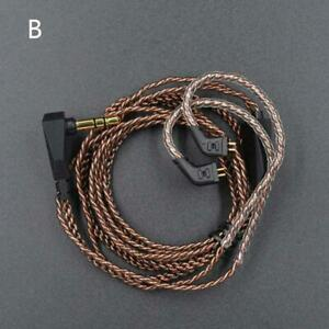 Oxygen-Free Copper Cable 0.75mm Gold Plated Pin Earphone Cord for KZ-ZS3/ZS4/ZS5