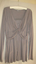 Sussan long top cocoa-taupe crossover bodice lace insert long sleeves size L