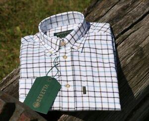 Mens Beretta Classic Shirt - White Black Brown Check - New
