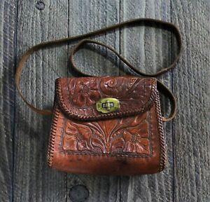 Vintage Hand Tooled Leather Floral Hippie Boho Western Purse Shoulder Bag