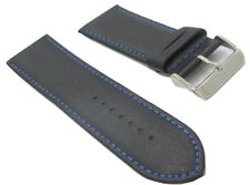 28mm Italian Genuine Leather Italy Black Smooth Blue Stitch Watch Band Strap