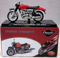 Atlas 1/24 Scale appx 6cms 1969 Norton Commando 750 Red + Plinth Model Motorbike