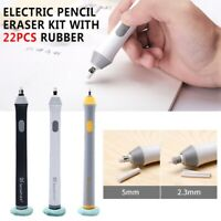 Electric Pencil Eraser Kit w/ 22pcs Rubber Refills Highlights Sketch Drawing CY