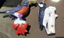 The Danbury Mint Songbird Christmas Ornament Robin + Woodpecker B48