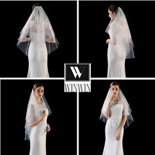 Women Bridal Wedding Double Layers Tulle Veil With Comb Hen's Night White Ivory
