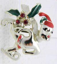 Vintage Light Gold Tone Rhinestone Enamel Skating Christmas Bear Pin Brooch