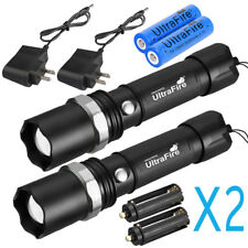 2X MILITARY GRADE TACTICAL POLICE SWAT HEAVY DUTY 3W LED RECHARGEABLE FLASHLIGHT