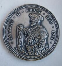 KING POLAND SIGISMUND II AUGUSTUS LAST OF JAGIELLONS UNION OF LUBLIN MEDAL silve