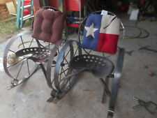 Iron wagon wheel tractor seat Outdoor Rocking Chair, metal lawn porch furniture