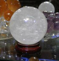 110mm Natural Calcite Quartz Crystal Sphere Ball Healing Gemstone + Wood Stand