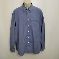 Eddie Bauer Mens Button Up Shirt XL Blue Long Sleeve Cotton Blend Stretch