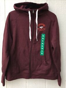 NWT~Women's Virginia Tech Hokies Full Zip Hoodie Sz:XLarge Maroon/Orange