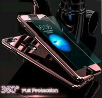 Hybrid 360° Hard Ultra Thin Mirror Case Tempered Glass Cover For iPhone& Samsung
