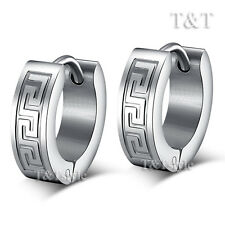 ELEGANT TT Silver Stainless Steel Greek Key Hoop Earrings EH23S