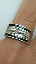 Unisex Vintage 14k White Gold Panther Leopard Cat Enamel Diamond Ring