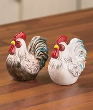Country Rooster Salt and Pepper Shakers Stoneware Chicken Farm Bird Kitchen